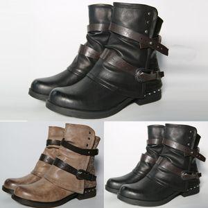 حار بيع -شمال برشام للدراجات النارية أحذية نسائية جلدية الإبزيم الجوارب القصيرة كبير الحجم السوستة الجانبية الشتاء عارضة