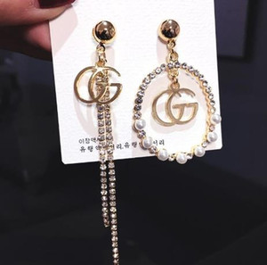 Fashion new G letter asymmetry earrings S925 Silver needle G earring Fashion Jewelry Dangle Pearl crystal circle tassel Earrings