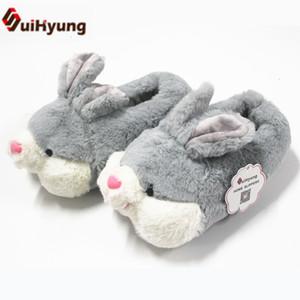 Suihyung Kış Termal Kapalı Taban Ayakkabı Sevimli Peluş Karikatür Bunny PP Pamuk Ev Terlik Kürklü Sıcaklık Terlik Pamuk Ayakkabı SH190925