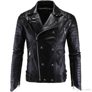Kafatası Düğmeleri Fermuar Asya Boyut M-5XL erkekler PU Deri Ceket Biker Streetwear Kış Erkek Punk Tarzı Ceket