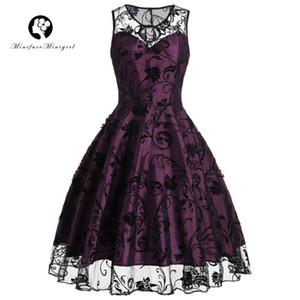 Vestido roxo do vintage mulheres verão 2018 sexy mangas vestido midi impressão robe femme lace vintage vestidos 50 s 60 s y19012201