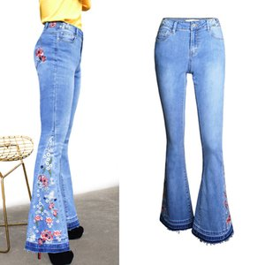 Casual Office Lady Flare Pants Jeans for Women Fashion Stretch Embroidery High Waisted Wide Leg Jeans Vintage Denim Pants 3XL