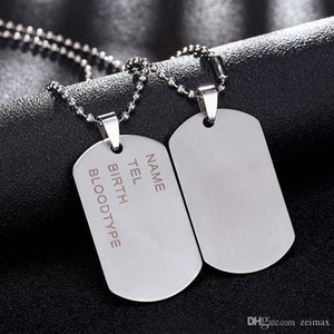 New Brand Link Chain Man necklace Military Army Dog Tags Men's Stainless Steel Pendant Necklaces Jewelry Gift Choker Wholesale