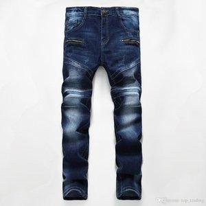 Men's Distressed Motorcycle Biker Jeans Dark Blue VINTAGE Pants Slim Fit Mens Moto Denim Hip Hop Punk Streetwear For Men 760#