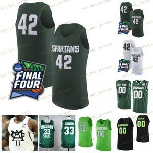 NCAA Custom Michigan State Spartans Basketball 1 Joshua Langford 5 Cassius Winston 20 Matt McQuaid Green Sewn 2019 Final Four MSU Jersey