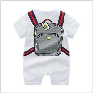 Mamelucos del bebé INS para bebé niña niño de subir 100% algodón de manga corta de dibujos animados Schoolbag impresos mono niños Designer Bodies Casual