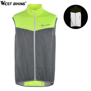 West Biking Reflective Gilet in bicicletta Antivento Antivento Sicurezza Bike Gilet senza maniche in bicicletta Jersey in esecuzione Sport Gear Uomo Donne Bike