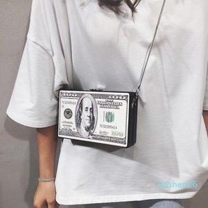 Chic Dollar Print Box Women Shoulder Bags Designer Chains Crossbody Bag Luxury Pu Leather Small Square Purses Ladies Clutch Bag l26