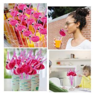 Papel De Flamingo rosa Palhas Bebendo Cocktail Beach Party Wedding Talheres Kid Birthday Party Decor Frete Grátis