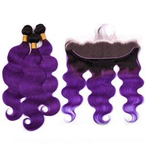 H Ombre Purple Peruvian Human Hair Body Wave 3bundles With Frontal 4pcs Lot #1b Purple Ombre Lace Frontal Closure 13x4 With Weave Bundl