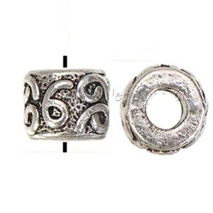 DIY Charms Beads Bangle Wholesales Bracelets Large Hole Round 6 9 Engraved Antique Silver Metal Jewelry Components New 10*8mm 100pcs