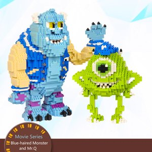 Micro Diamond Building Blocks Small Particles Blue-haired Monster and Mr.Q DIY Children's Educational Assembled Blocks Boy Toy Birthday Gift