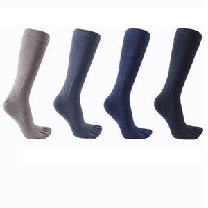 Mens Cotton Five Finger Yoga Socks Japanese Style Male Long Tube Toe Socks Anti-Slip Breathable Solid Color Sports Fitness Casual Stockings