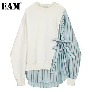 [EAM] Loose Fit Striped Spliced Hit Color Sweatshirt New Round Neck Long Sleeve Women Big Size Fashion Spring Autumn 2020 1B763 Y200706