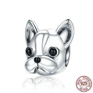 925 Sterling Design bonito Lovely Little Dog Francês quatro Beads Mulheres Animal Charm Pup caber Pandora Pulseira Bijuterias