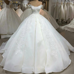 Luxury Lace Ball Gown Wedding Dresses Sexy Backless Off The Shoulder Appliques Sweep Train Ivory Princess Bridal Dress voiles de mariage