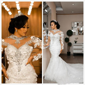 2021 Arabic Aso Ebi Luxurious Lace Crystals Wedding Dresses Sheer Neck Long Sleeves 3D Floral Bridal Dresses Mermaid Wedding Gown Designer