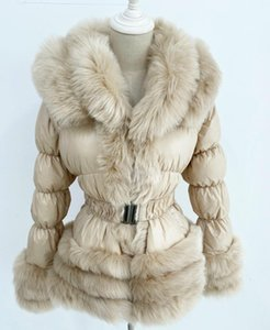 Zadorin Winter warm Daunenjacke Frauen Luxus-Pelz-Kragen-weiße Ente Daunenjacke Winter Mantel mit Kapuze und Gürtel