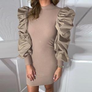 2020 Nouveau Mesdames Automne Hiver Robe manches bouffantes solide Couleur femmes courtes Col rond Robe sexy élégant moulante robe fourreau