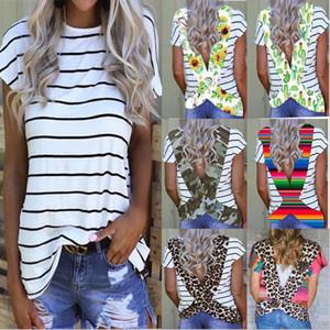 Sommer-Frauen-T-Shirt Blumen-Blumen-Leopard Striped Backless shirts kurze Hülsen-Sport-beiläufig Top Bademode Bikini-Vertuschung-E31204