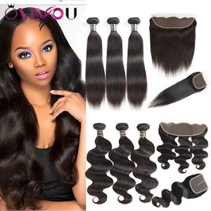 Mink Brazilian Straight Body Wave Human Hair 3 Weaves Bundles with 4*4 or 13*4 Lace Frontal Cheap Brazilian Virgin Hair Wefts with Closure
