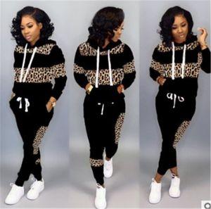 Leopardo das mulheres listradas Tracksuits Designer Casual calças lápis Manga comprida com capuz Collar Tops 2 conjuntos de peças das mulheres Tracksuits Moda