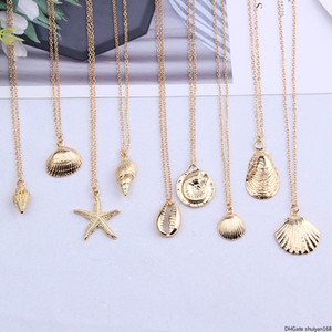 Starfish Shell-Anhänger Halskette für Frauen Conch-Charme-Kragen-Halskette Legierungs-Ketten-Halskette Sommer-Strand-Party-Statement Schmuck Großhandel