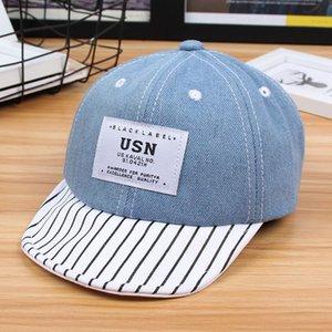 Bebé Niños verano Cartas Patch gorra de béisbol rayada con puño de ala ancha de protección solar al aire libre dril de algodón ajustado enarbolado sombrero 1-4T