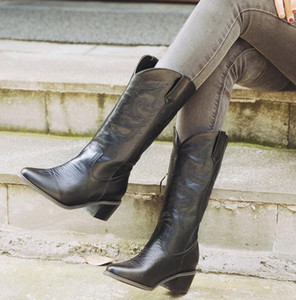 plus size 34 to 44 45 46 47 48 49 classic cowboy mid calf boots designer booties winter designer shoes add plush