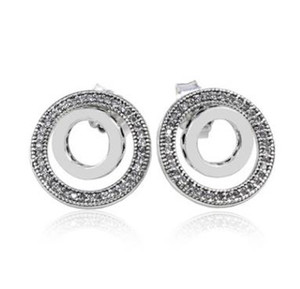 Genuine 925 Sterling Silver New double ring LOGO earrings Fit Women Bead Charm Europe Fashion Diy Jewelr