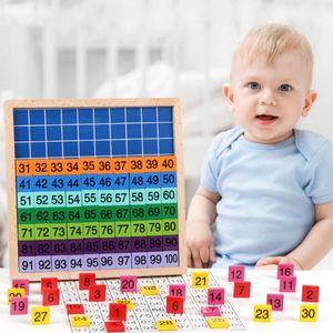 WJ1039 Math Compter jouets éducatifs pour enfants début de temps 1-100 enfants de la maternelle à bord continu numérique jouets en bois