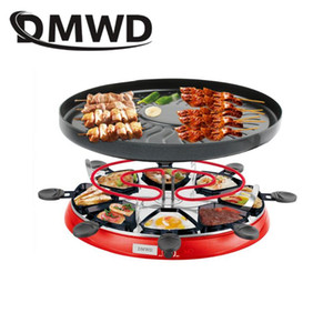 DMWD Double Layers Smokeless Raclette Grilldle baking oven Electric BBQ Grill Heating Stove pan Barbecue Iron non-stick Plate EU