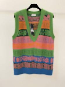 20FW Италии последних начале autumnLetter Радуга цвет блокирование свитер жилет пары случайные уличные на открытом воздухе Мужчины Женщины свитер zdl0626.