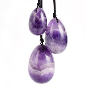 3 teile / satz Multicolor Amethyst Yoni Ei für Frauen Kegel Exerciser für Gesicht Körpermassage Muskelstraffung Ben Wa Ball Jade Eier