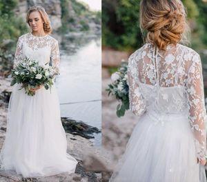 Weiße Brautkleider 2019 Neueste Sheer Neck A-Linie Brautkleid Brautkleider Langarm Spitze Tüll Reißverschluss Zurück Nach Maß