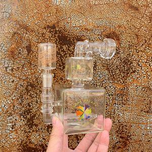 Rubik's Cube-14mm Double Box Square Board Bong Bong Coloré Logo de 6,5 pouces Huile Pièces à base d'huile avec béteries de bécher Bongs pour fumer