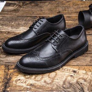 movechain Erkekler Dantel-up İş Elbise Office Erkek Deri Ayakkabı Erkek Klasik Retro Brogue Ayakkabı Moda Düğün Flats Ayakkabı