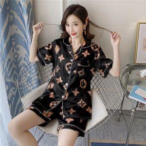 Stylish Brand Pajamas Ice Silk Pajamas Female Summer Short-Sleeved Thin Two-Piece Set Sexy Cute Large Size Sleepwear