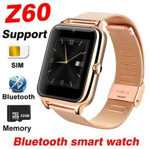 Z60 Smart Watch Мужчины Женщины SIM карта поддержка 32 ГБ TF памяти Bluetooth часы телефон часы металлический фитнес браслет A1 Y1 Smartwatch детские часы
