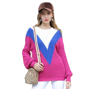 New autumn   winter European and American knitted sweater women's geometric contrast round neck sweater long sleeve pullover tops