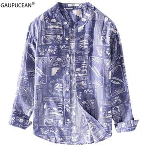 100% Linen Cool Breathable Anti-static Anti-radiation Quality Fashion Printing Man Shirt Summer Male Men Long Sleeve Shirts