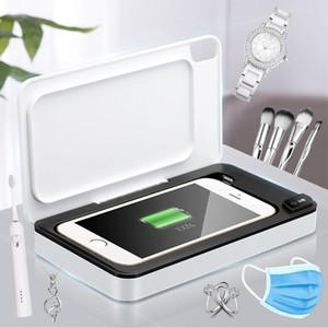 전화 샤워 모바일 UV 살균기 무선 충전기와 휴대 전화 키 마스크 헤드폰 시계 99 % UV 살균기에 대한