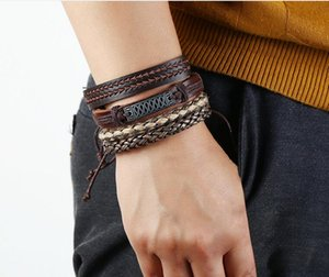 leather bracelet Twist chain Embroidery Hemp rope simple and easy adjustable bracelet Men's Combination suit Bracelet 4 styles 1 set