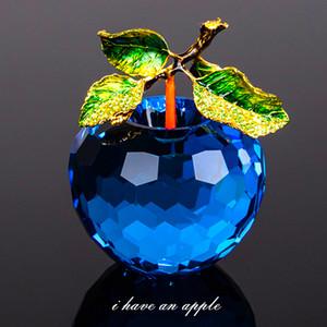 Luxus 80mm Kristallglas-Apple-Miniatur-Figürchen Natale Hauptdekorationen Figuren Crafts Geschenke Künstliche Früchte für Wohnkultur