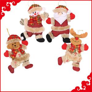 18 * 13cm pendente di peluche di Natale Babbo Natale pupazzo di neve Elk Bears Hanging ornamento Albero di Natale giocattoli di Natale della bambola della peluche a sospensione a parete Stuff M590