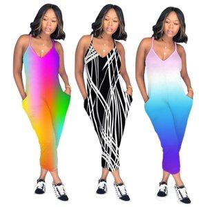 S-XXXL Летние женские комбинезоны Rainbow V-образным вырезом Комбинезоны Ремешки Карманы Наряды комбинезоны повседневная сексуальная мода Бинты комбинезон