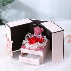 neue Valentinstag Geschenk Teddybär stieg zwei Tür Weihnachten gif Geschenk-Box Geburtstag Freundin Frau Mutter Tag Geburtstag