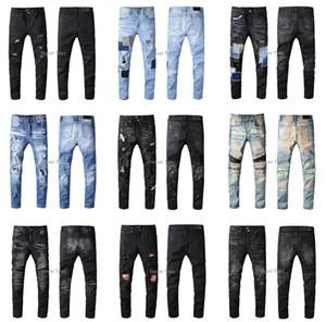 Amiri SS20 Recién llegado Diseñador de la marca de calidad superior Hombres Denim Slim Jeans Bordado Pantalones Moda Agujeros Pantalones EE. UU. Tamaño 28-40