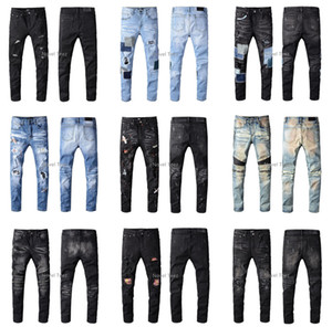 Amiri SS20 Neuankömmling Hochwertige Markendesigner Herren Denim Slim Jeans Stickhose Mode Löcher Hose US Größe 28-40