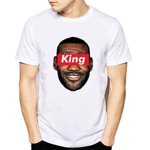 제임스 힙합 화이트 T 셔츠 패션 남성 2018 킹 제임스 인쇄 티셔츠 인과 르 브롱 제임스 바구니 볼 저지 쿨 티즈
